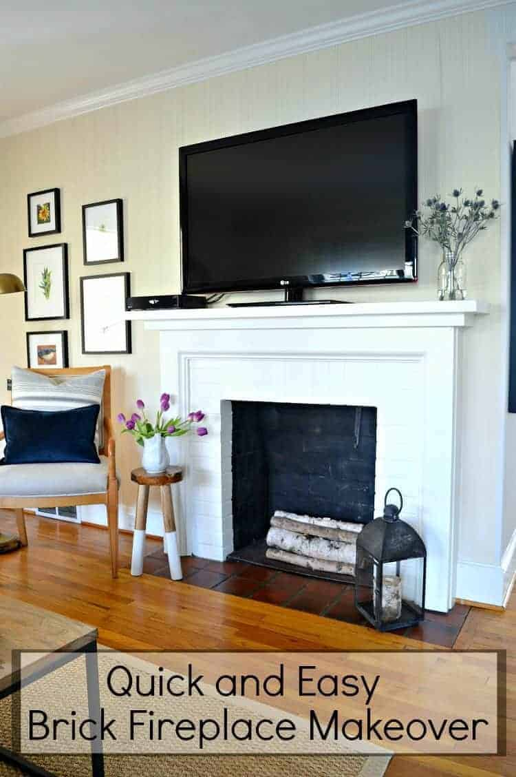 With just a little bit of paint and a few hours you can freshen up a builder basic fireplace by doing this easy DIY brick fireplace makeover | Chatfield Court