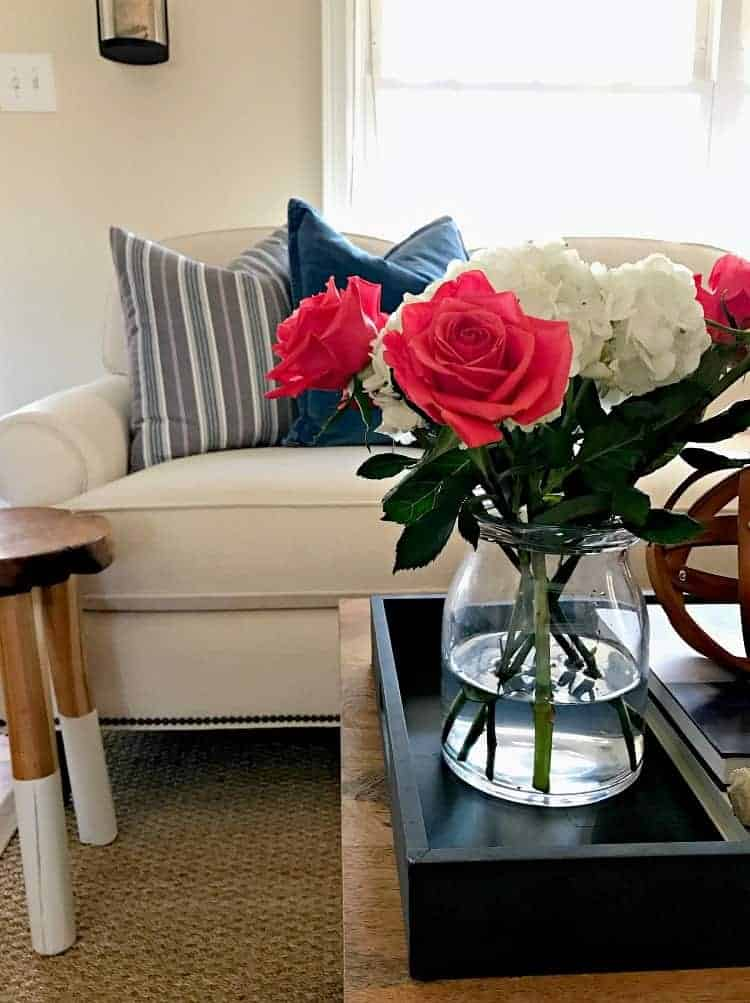 Roses and hydrangea in the living room. www.chatfieldcourt.com