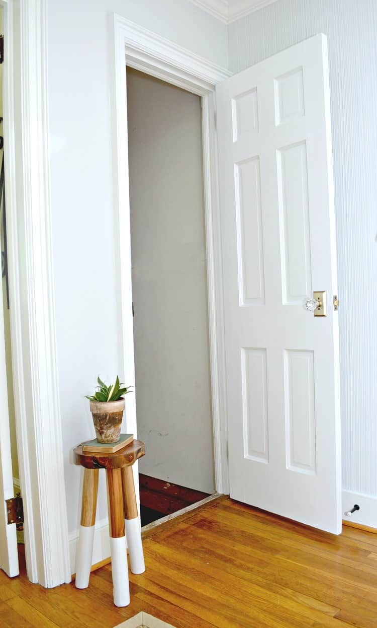 How you can easily upgrade and replace an interior basement door by recycling an old door. This is an inexpensive DIY project that anyone can do. | Chatfield Court