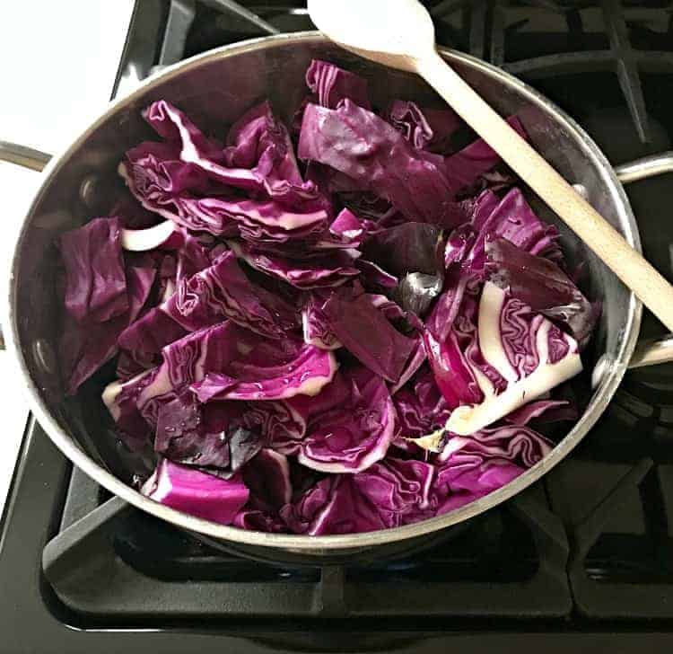 red cabbage cut up in pot on stove