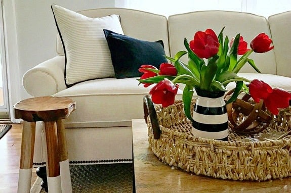 red tulips in black and white striped vase