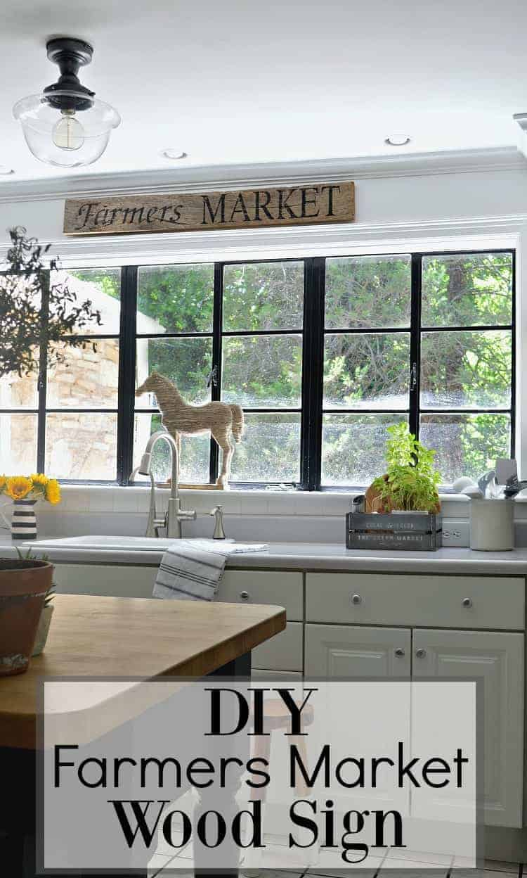 A couple of supplies and a few minutes are all you need to make this easy DIY farmer's market wood sign for the kitchen or any room in your home.