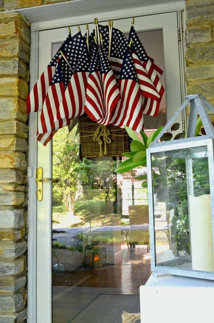 American flag display hanging on front door