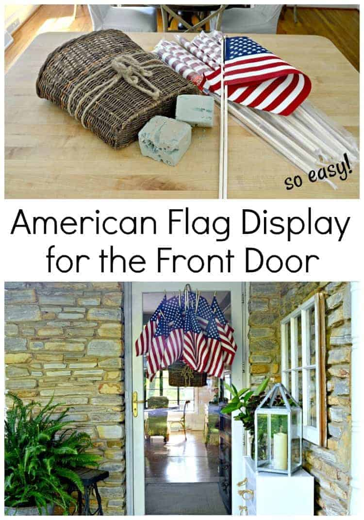 Add a bit of red, white and blue to your front door with this easy American flag display in a hanging basket.