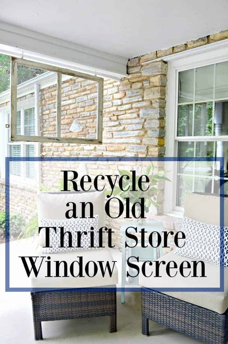 Recycling an old thrift store window screen by using it as a divider on a front porch.