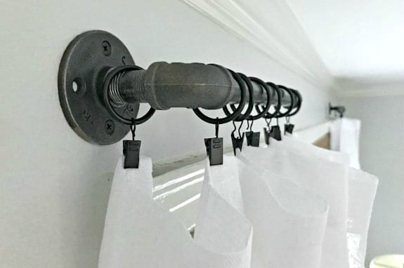 curtain hanging on DIY pip curtain rod