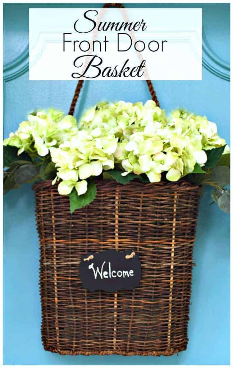 Make this easy summer front door basket in just a few minutes with faux hydrangeas.