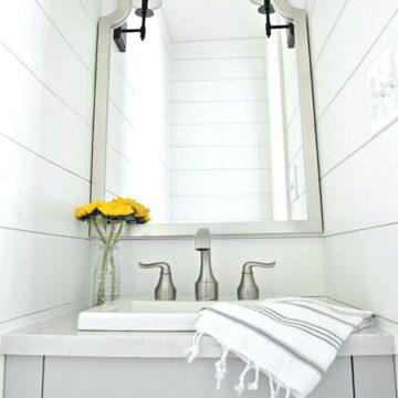 DIY bathroom vanity in small bathroom