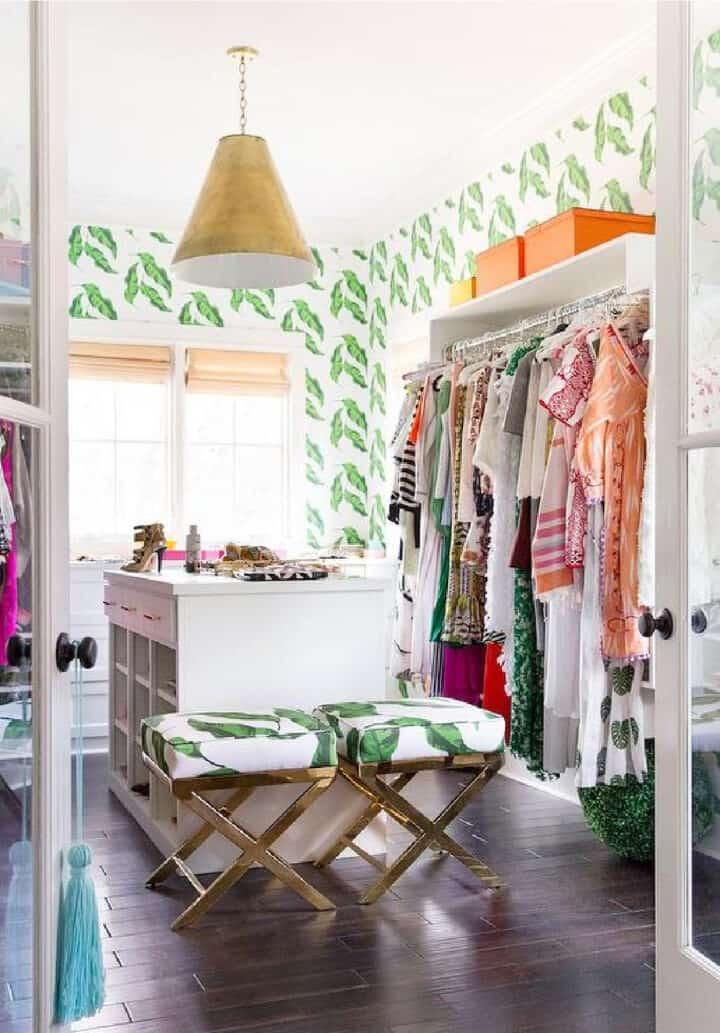 banana leaf wallpaper in a closet