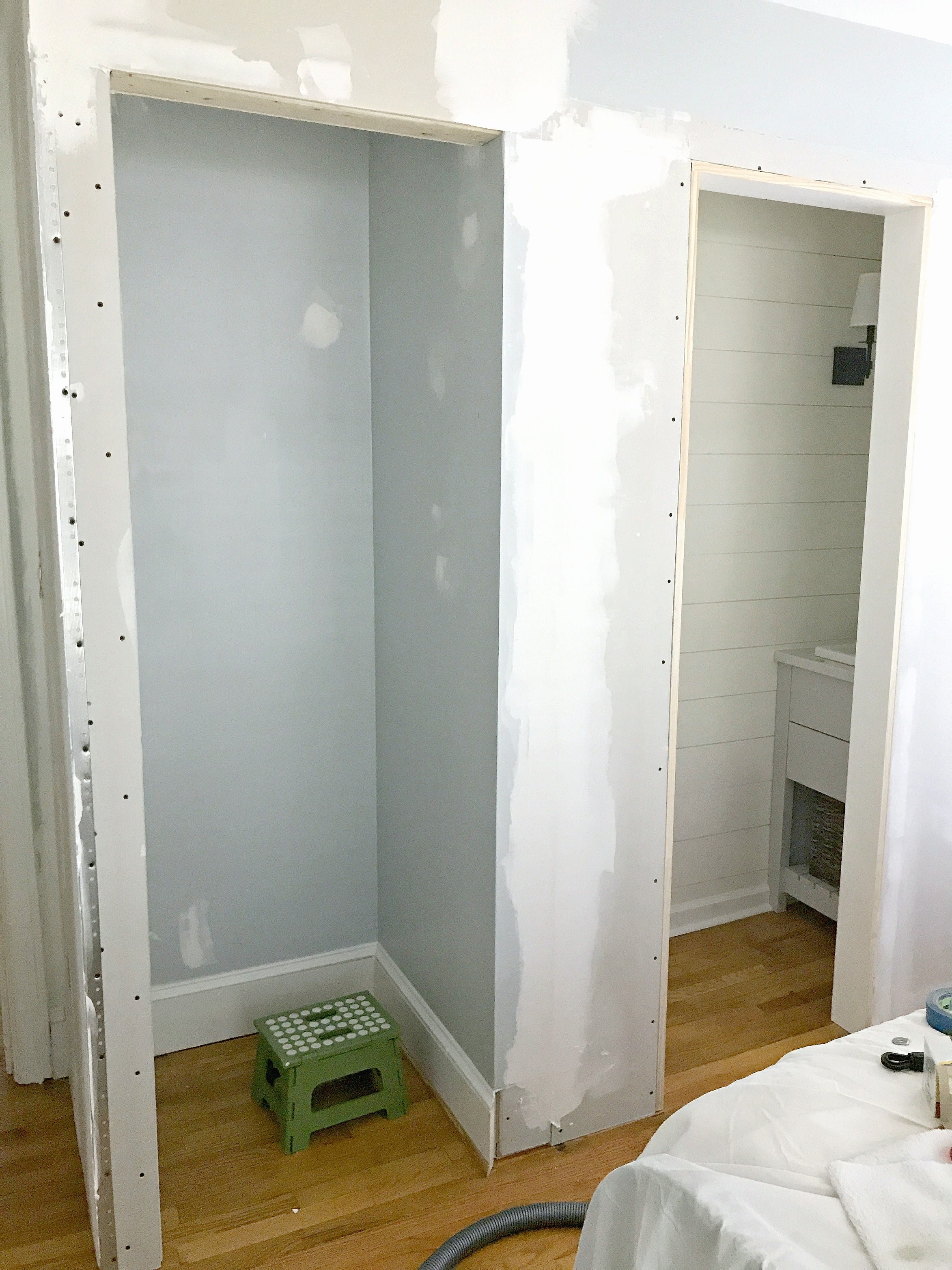Building a new closet and powder room in the guest bedroom.