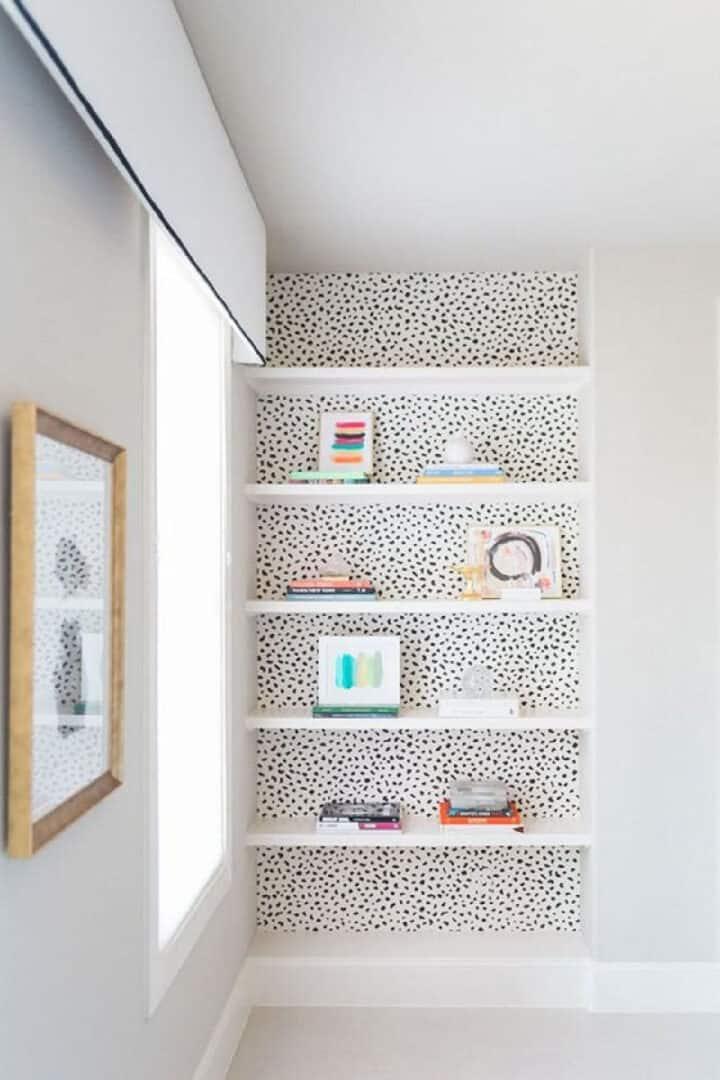 black dot wallpaper in closet
