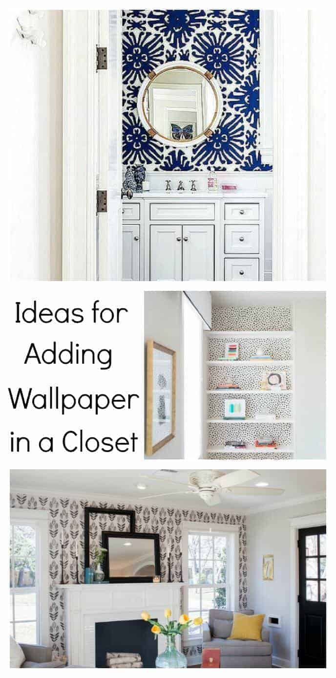 Add a pretty pop of color or pattern in an unexpected small space in your home like these closet wallpaper ideas.