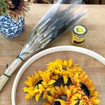 supplies to make a sunflower wreath