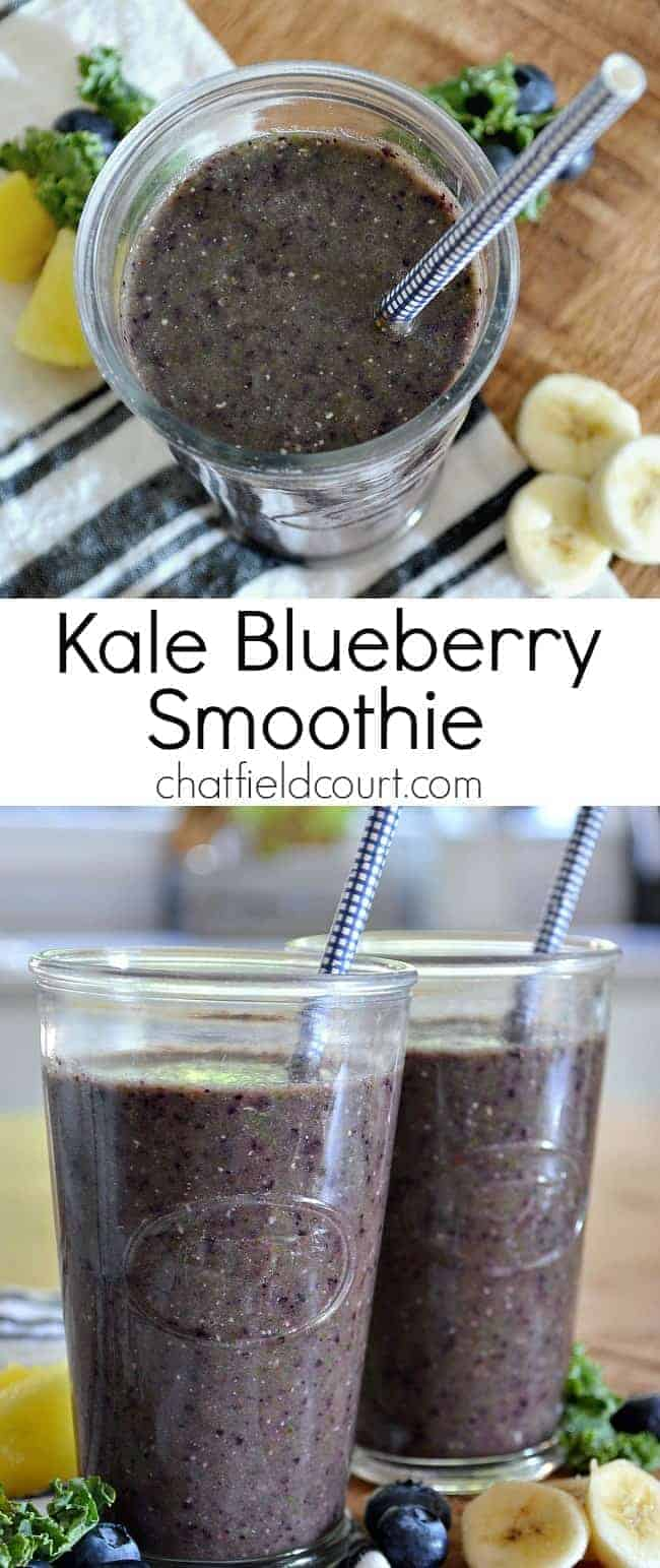 An easy recipe for a healthy but delicious kale blueberry smoothie. It's my go-to breakfast when I want something quick and tasty.