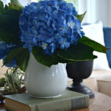 A vase filled with hydrangeas sitting on a table
