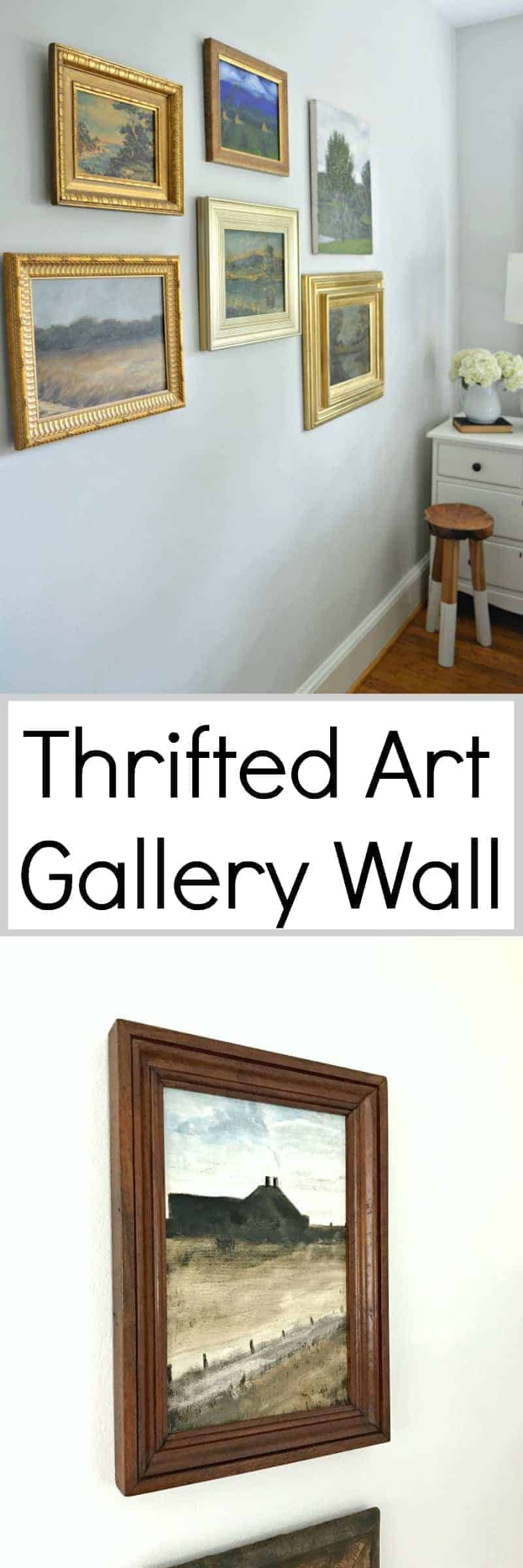 How to use thrift store art to make a gallery wall in a master bedroom. A fun way to repurpose old art from thrift stores and flea markets