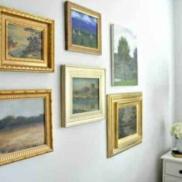 wall gallery of watercolor paintings