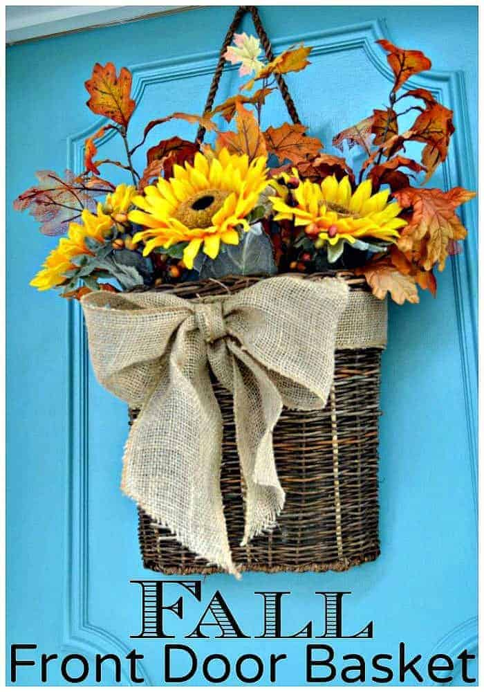 Create an easy fall front door basket in minutes with faux sunflowers and leaves.
