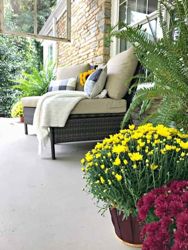 5 tips and decorating ideas for creating a welcoming fall porch for your guests from adding fall color with yellow mums to a cozy seating area with pillows and a throw.