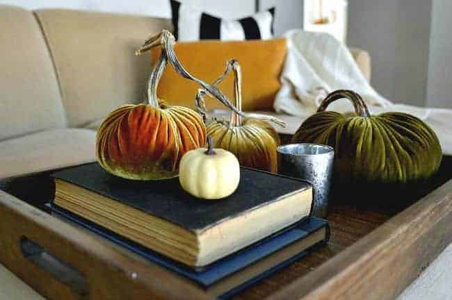 How to create a simple fall display with velvet pumpkins.