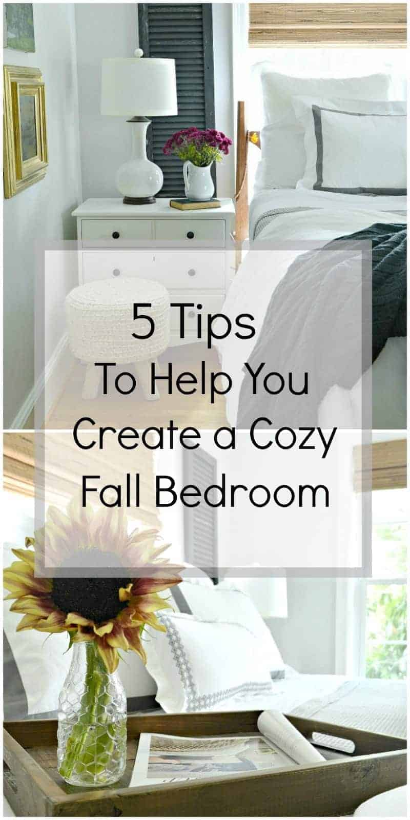5 tips and ideas to help you create the most comfortable and cozy bedroom for fall by adding beautiful linens, layers, pillows and texture.