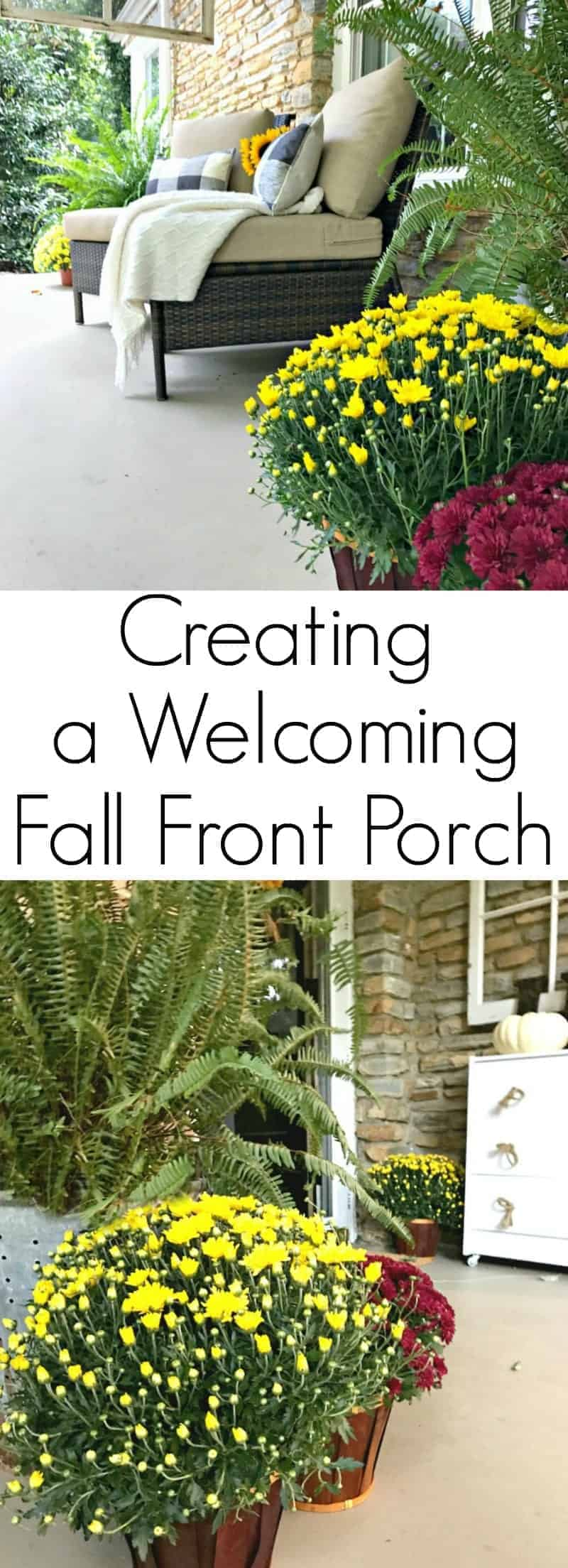 5 tips and decorating ideas for creating a welcoming fall front porch for friends and visitors.