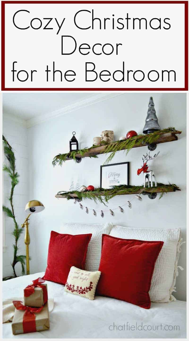 Adding color and texture to create a cozy Christmas guest bedroom.