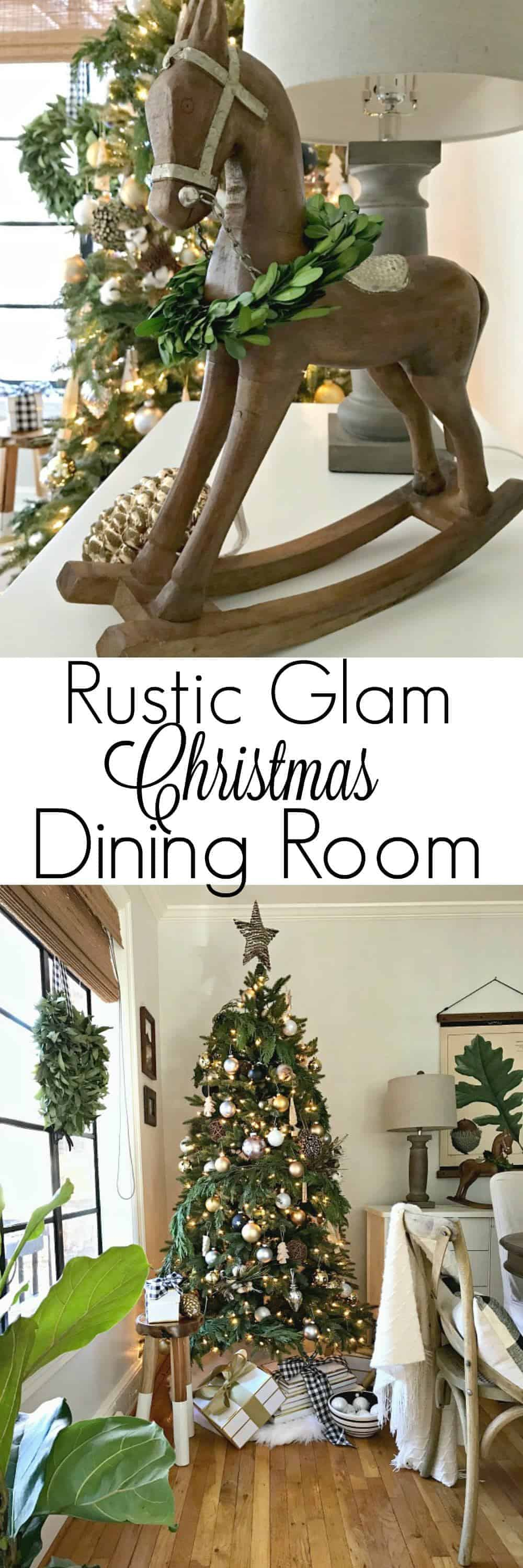rustic glam Christmas tree and wood rocking horse in dining room