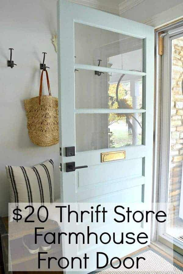 old door to thrift store farmhouse style front door