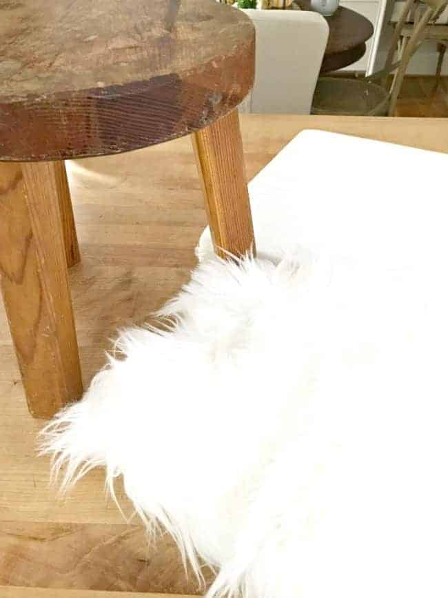 A $2 thrift store find turns into a cool faux fur stool.