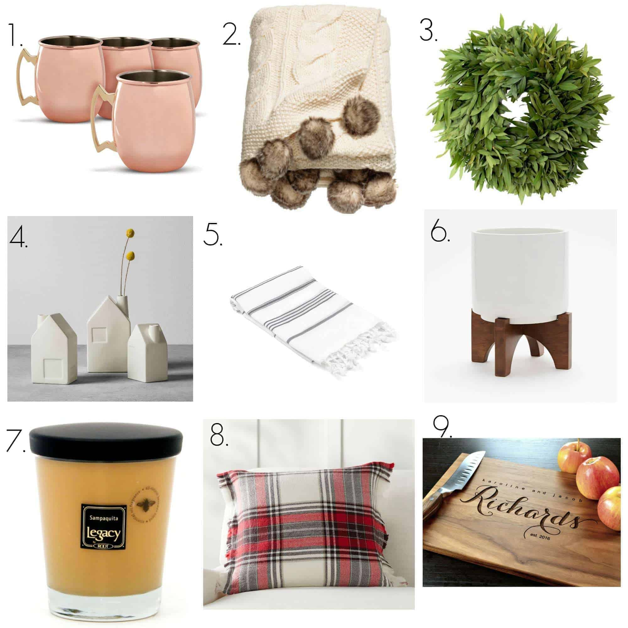 collage of Christmas gifts for the home like copper mugs and plaid pillows