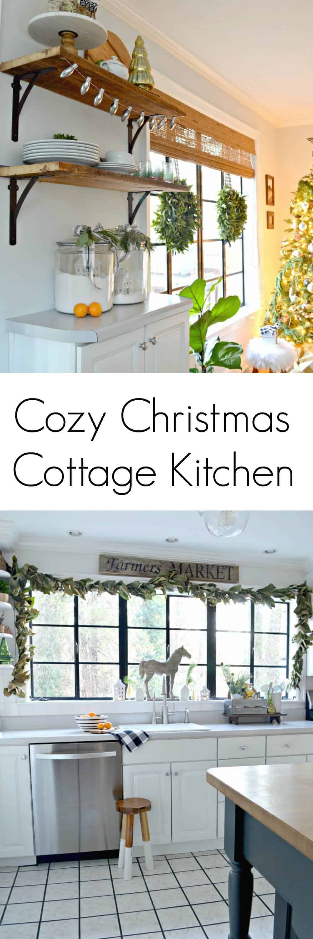 cottage Christmas kitchen window and wood shelves