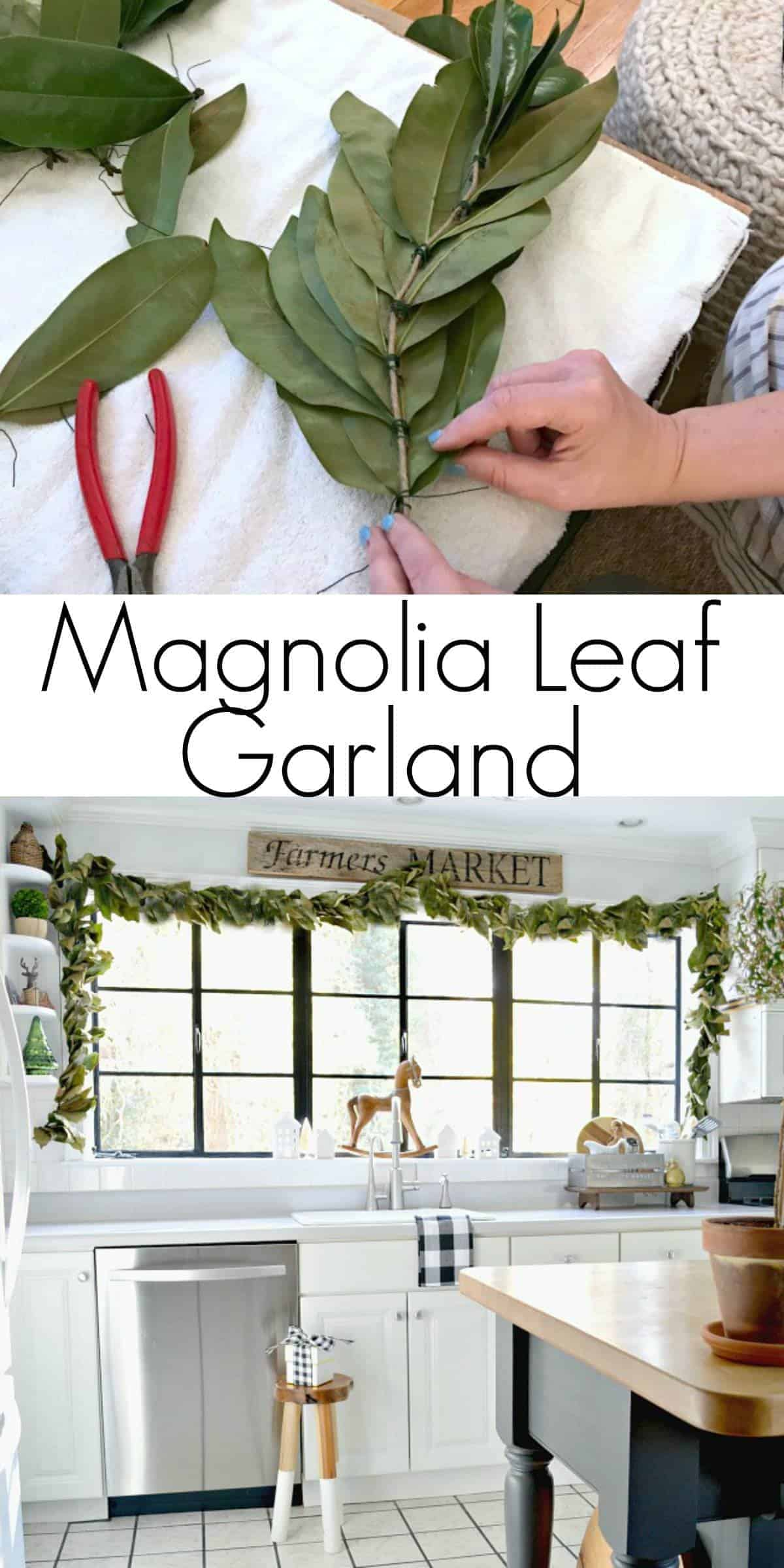 making magnolia leaf garland and magnolia leaf garland around kitchen window
