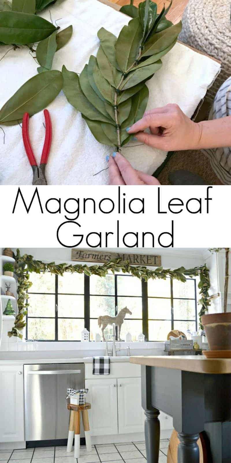 making a magnolia leaf garland and magnolia leaf garland draped on big kitchen window