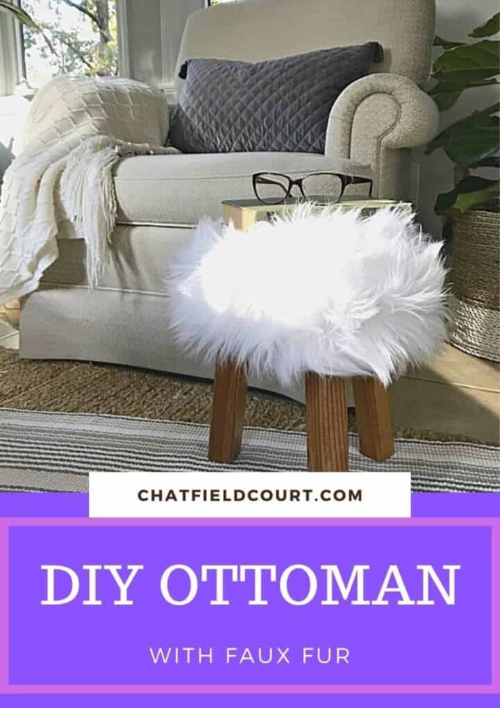 DIY ottoman with faux fur next to an arm chair