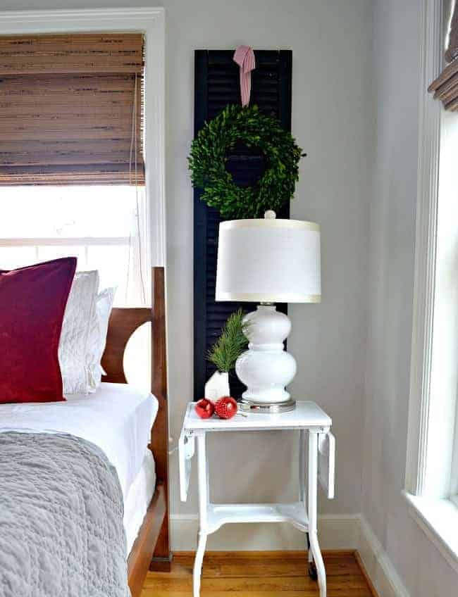 Sharing our cottage Christmas decor in this tour of the master bedroom, plus a few easy Christmas decorating tips.