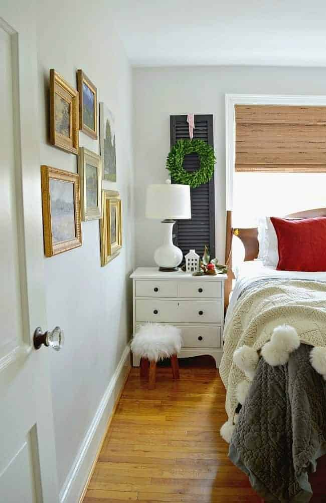 Sharing cottage Christmas decor in this tour of the small master bedroom, plus a few easy Christmas decorating tips.