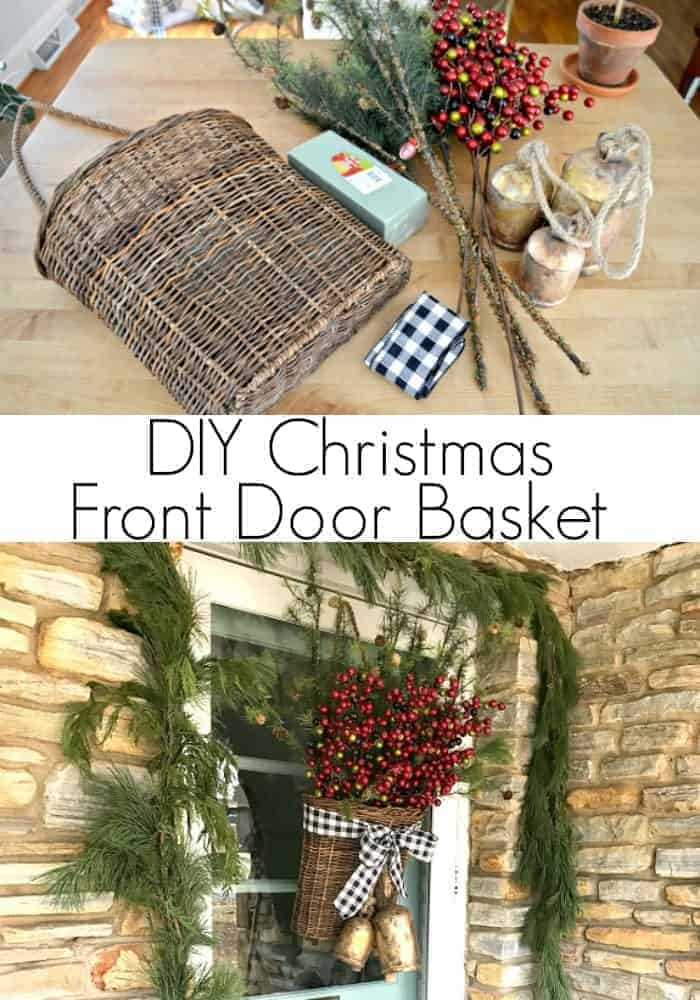 A simple DIY Christmas front door basket to add holiday color and style to your front door.