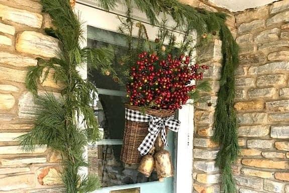 DIY Christmas Front Door Basket