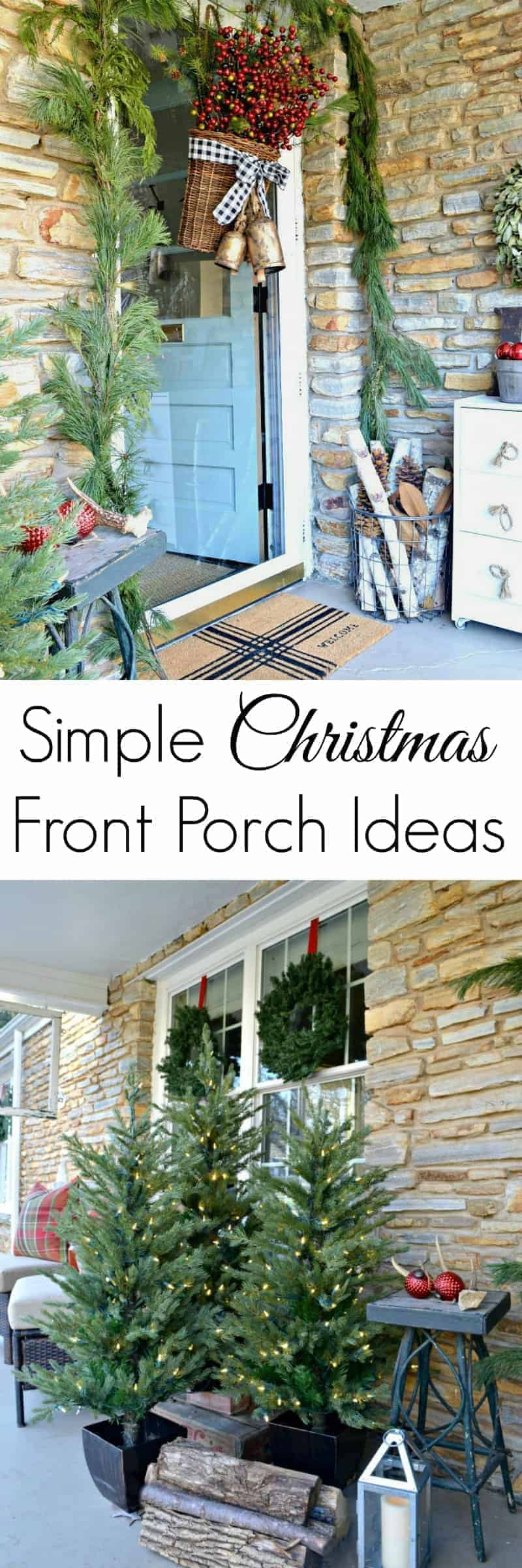 christmas front porch door and trees with large graphic
