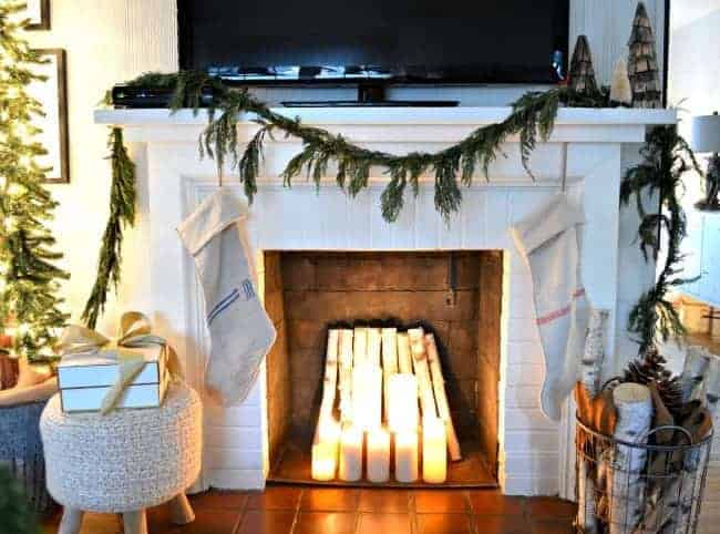 Sharing cottage Christmas decor in this tour of a small living room, plus a few easy Christmas decorating tips.