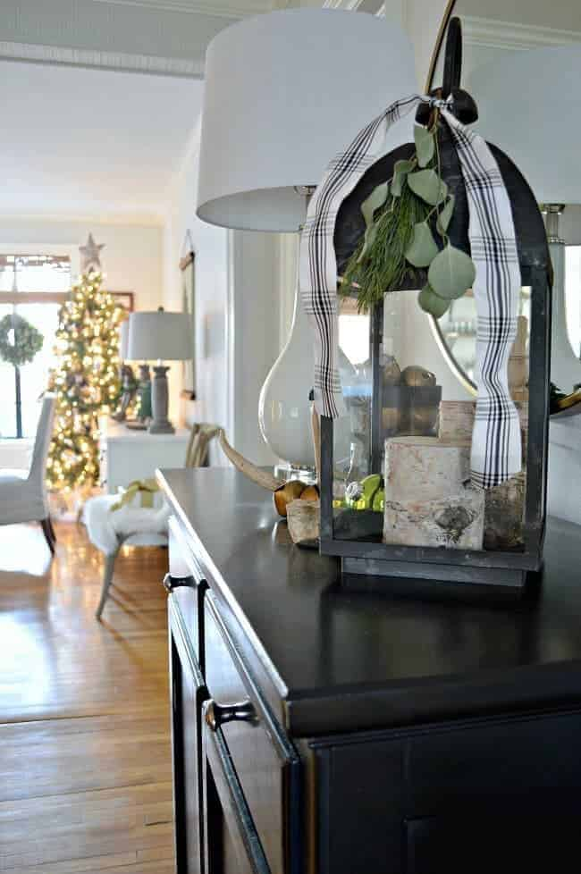Sharing cottage Christmas decor in this tour of a small living room and entryway, plus a few easy Christmas decorating tips.
