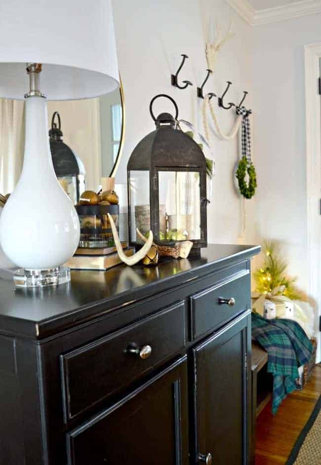 Sharing cottage Christmas decor in this tour of a small entryway, plus a few easy Christmas decorating tips.