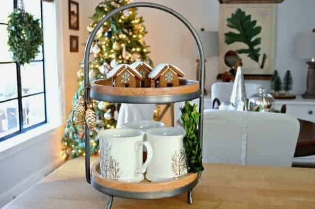 How to create a cozy cottage Christmas kitchen by using farmhouse touches like a two tiered tray for coffee essentials.