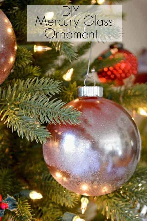 A great and easy Christmas ornament idea using red spray paint and mirror effect spray paint to create a mercury glass ornament.