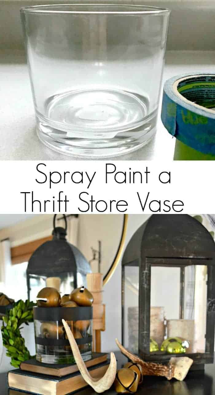 A simple and inexpensive DIY spray paint glass vase with black paint. Love this easy decor idea!