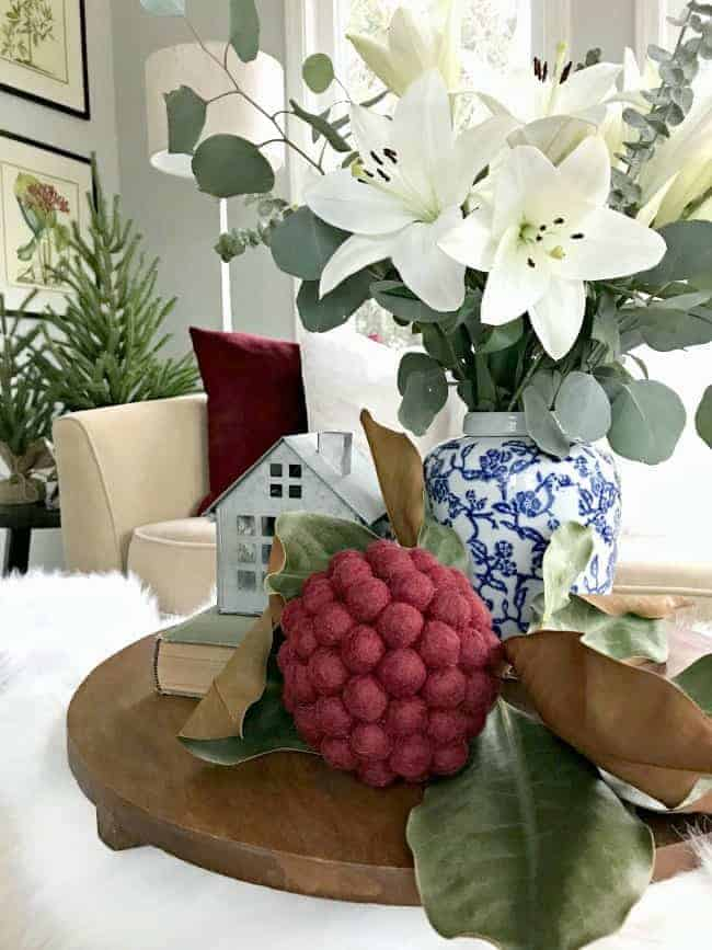 Sharing cottage Christmas decor in this tour of a small, updated sunroom, plus a few easy Christmas decorating tips and tricks.