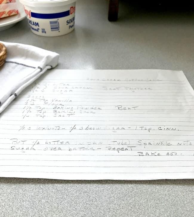 handwritten sour cream coffee cake recipe