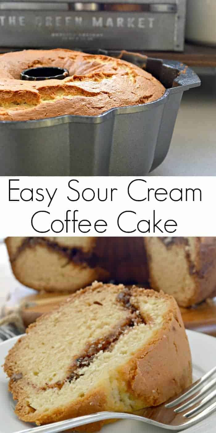 sour cream coffee cake in bundt pan and slice of cake with fork with text banner