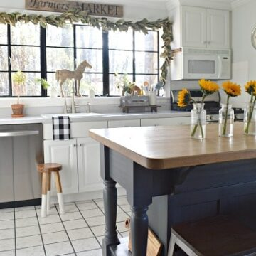 A kitchen with an island